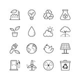 Eco Energy Icons - Vector illustration , Line icons set Stock Photos