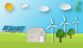 Eco energy illustration in paper art style. Green power conept. Solar and wind energy usage. Royalty Free Stock Image