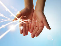 Eco energy with led lights. Eco concept with led lights on the hands royalty free stock image