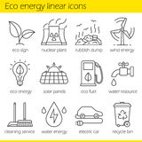 Eco energy linear icons set Stock Photography