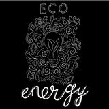 Eco energy. Logo eco energy with an inscription by hand, a bulb with green leaves, a sprout of a plant inside a lamp Stock Photography