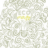 Eco energy. Logo eco energy with an inscription by hand, a bulb with green leaves, a sprout of a plant inside a lamp Stock Photos