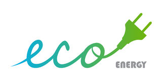Eco Energy Logo. Eco Plug logo with blue gradient green. Energy stock photography