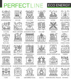 Eco energy outline mini concept symbols. Renewable green technology modern stroke linear style illustrations set Stock Image