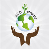 Eco energy. Over gray background vector illustration Stock Photography