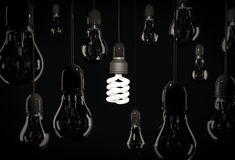 Eco energy saving bulb lighting incandescent bulbs hanging over Stock Photography