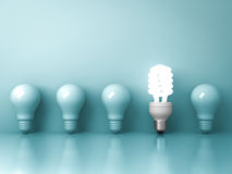 Free Eco Energy Saving Light Bulb , One Glowing Fluorescent Lightbulb Standing Out From Unlit Incandescent Bulbs Reflection On Green Stock Photos - 86464273