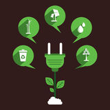 Eco energy source concept  design. Creative different green energy source icon like wind mill, solar, water, plant, wasteage  design concept  vector Royalty Free Stock Image