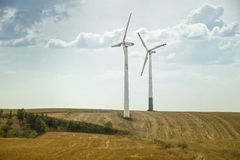 Eco energy, wind turbines Stock Photos