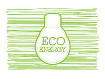 Eco energy word combined with light bulb on scribble greenline background. Vector illustration Royalty Free Stock Images