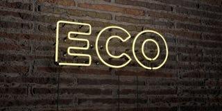 ECO - enseigne au néon réaliste sur le fond de mur de briques - image courante gratuite de redevance rendue par 3D Photo stock