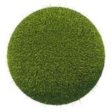 Eco and environment: green fresh grass globe isolated. On white Royalty Free Stock Photos