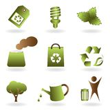 Eco and environment icon set Royalty Free Stock Images