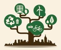 Eco市设计传染媒介例证eps10图表 库存照片