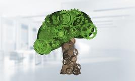 Eco esverdeia o conceito do ambiente apresentado pela árvore como o mecanismo ou o motor de trabalho Imagens de Stock Royalty Free