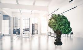 Eco esverdeia o conceito do ambiente apresentado pela árvore como o mecha de trabalho ilustração royalty free