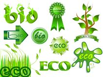 Eco et bio graphismes et positionnement d'étiquettes 2 illustration stock