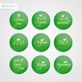 Eco för organisk för Eco för glutensocker fri vegetarian Bio strikt vegetarian Bio naturlig etikett Matlogosymboler Grönt och vit Royaltyfri Bild