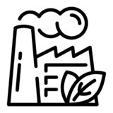 Eco factory icon, outline style vector illustration