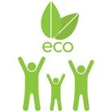 Eco-Familie ahd Blätter Stockfoto