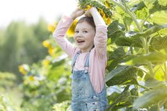 Portrait of happy girl playing with sunflower at farm stock image