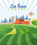 Eco farm. Agriculture vector illustration. Colorful countryside. Poster with vintage farm Royalty Free Stock Photos