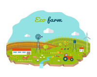 Eco Farm Conceptual Vector in Flat Style Design. Eco farm conceptual vector. Flat design. Landscape view of traditional ecological farm. Country idyll. Farmyard Stock Image