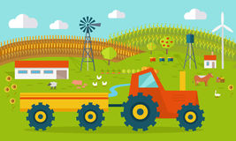 Eco Farm Conceptual Vector in Flat Style Design. Eco farm conceptual vector. Flat design. Landscape view of traditional ecological farm. Country idyll. Farmyard Royalty Free Stock Photography