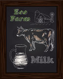 Eco farm with a cow and milk Stock Photo