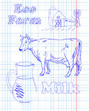 Eco farm with a cow and milk Royalty Free Stock Photo