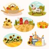 Eco farm flat icons. Farm vector set - 7 detailed icons Royalty Free Stock Photography