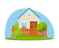 Eco farm, garden house with plot of land and trees. Eco farm, a garden house with a plot of land and plantations in the form of trees. Countryside, fruit trees Royalty Free Stock Photos