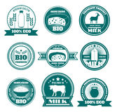 Eco farm milk dairy products emblems Stock Photo