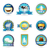 Eco farm milk dairy products labels Stock Photography