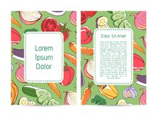 Eco farm products advertising with vegetables. Eco farm products advertising with fresh vegetables. Natural organic nutrition, vegan cafe menu design. Carrot vector illustration