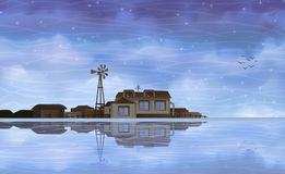 Eco farm reflecting in clear water vector illustration
