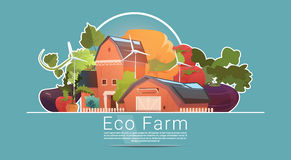 Eco Farming, Farm House, Farmland With Wind Turbine Renewable Energy Station Royalty Free Stock Photo