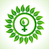Eco female symbol inside the leaf background Royalty Free Stock Photography