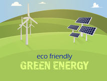 Eco fiendly. Green energy. Vector. Green energy. Solar panels and wind generators on green mountains.Vector Royalty Free Stock Photo