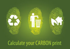 Eco fingerprint carbon stock image