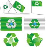 Eco flags. And logos vector illustration Royalty Free Stock Photo