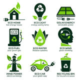Eco flat symbols promoting green lifestyle in the household Royalty Free Stock Photography