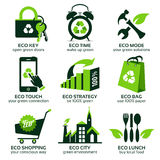 Eco flat symbols promoting green lifestyle in the world Royalty Free Stock Photo