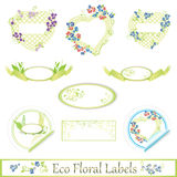 Eco floral label set Stock Photography