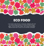Eco food background with berries, flowers, leaves. Nature ecology banner. Decorative cute elements. Royalty Free Stock Photos
