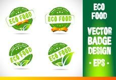 Eco Food Badge Logo Vector Stock Image