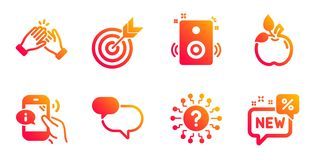 Eco food, Call center and Target icons set. Clapping hands, Chat message and Question mark signs. Vector