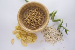 Eco food concept: wheat and corn flakes  and bamboo from above Stock Photos