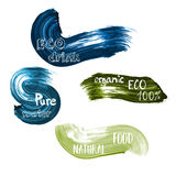 Eco food green and blue lables. Vector illustration collection with text lettering typography pure, organic, drink, bio. Natural, water for goods design Royalty Free Stock Photos