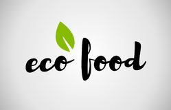 eco food green leaf handwritten text white background Stock Photo